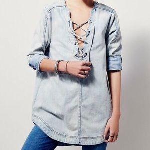 Free People Denim Lace Up Tunic Size Medium New